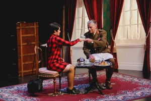 Production Photo of Dedication by Edward Riche. Actors Allison Kelly and David Ley.