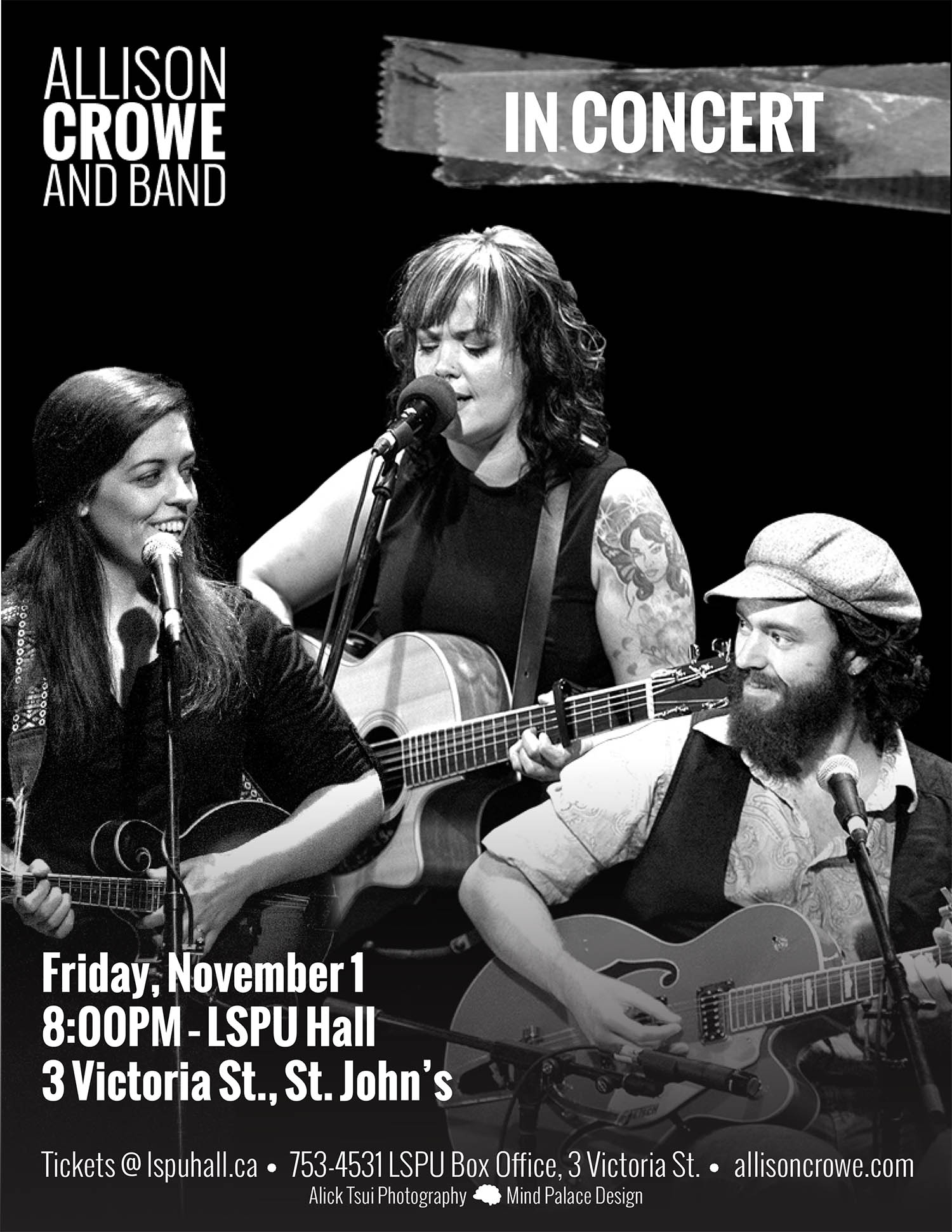 Poster for Allison Crowe and Band in Concert. Photo of the band performing live, three musicians on guitar. Two women, one man.