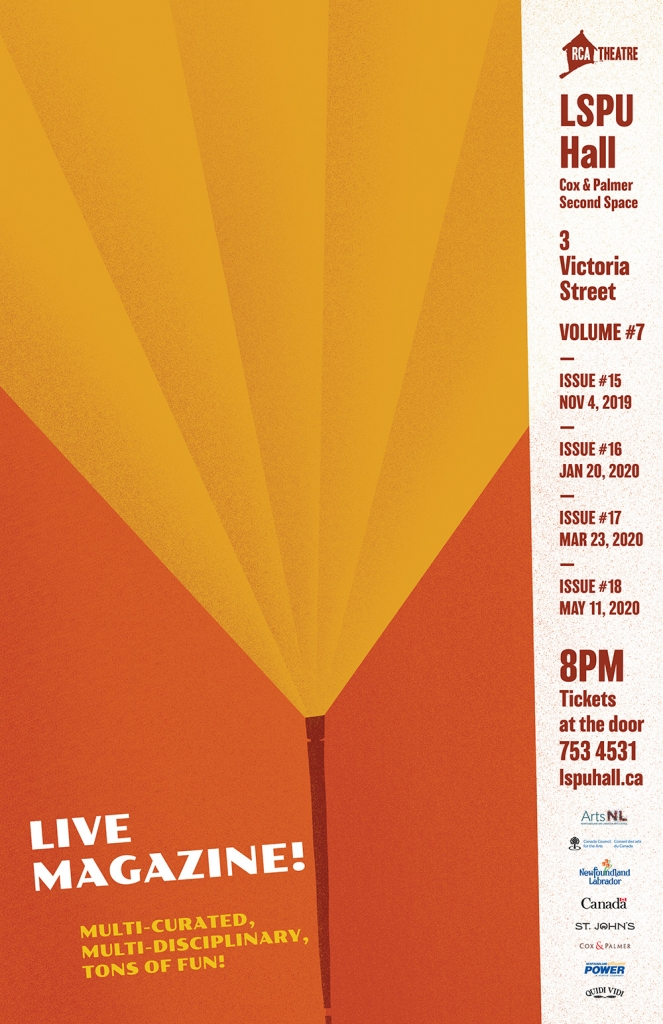 Poster for Live Magazine. Two tone image of a spotlight that also looks like an open book.