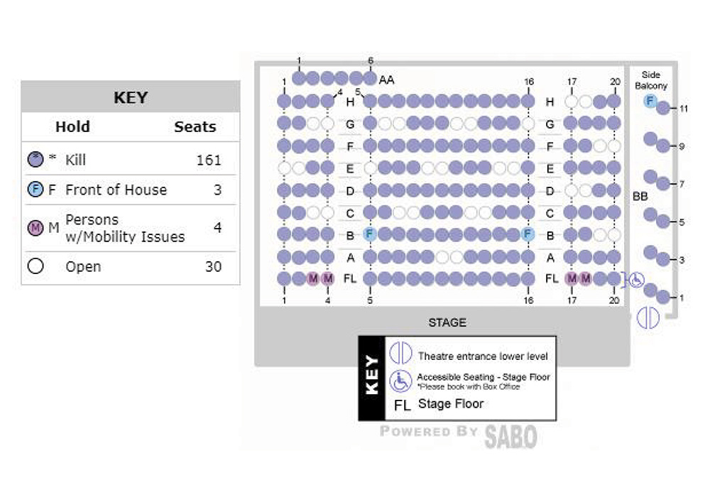 Seat map of LSPU Hall during COVID-19 restrictions. Every second row is empty. Three empty seats are between each bubble.