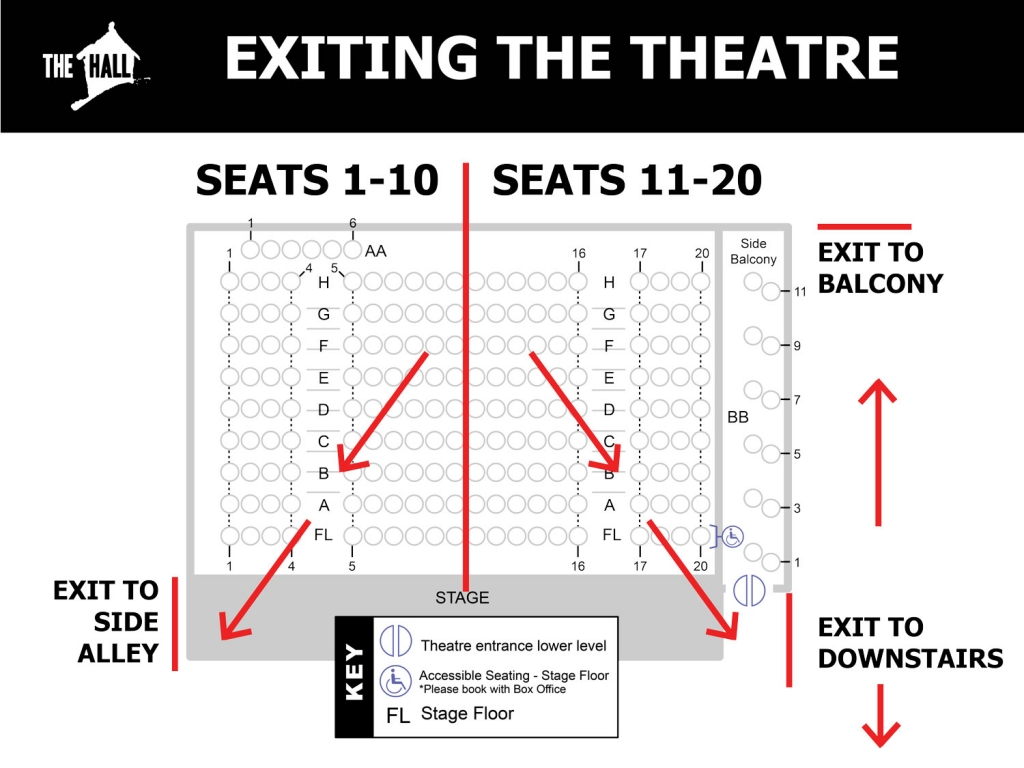 Instructions for exiting the theatre. Seats 1-10 exit through the side alley, seats 11-20 exit via the downstairs door or the back door to the balcony.
