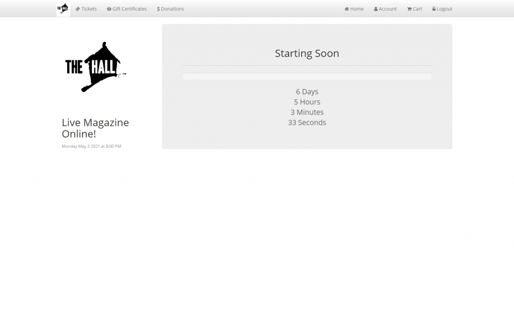 Starting Soon - Countdown page